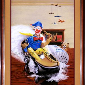 alex's-clown-main-fantasy-kids-childrens-art-mischievous-skate-teddy-pastel-painting-peter-jantke-art-studio
