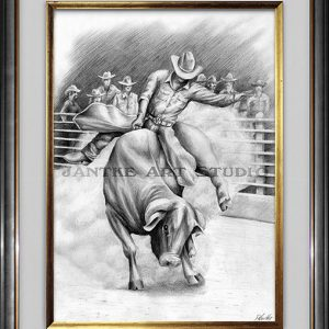 bull-rider-main-rodeo-competition-bucking-bull-pencil-illustration-peter-jantke-art-studio