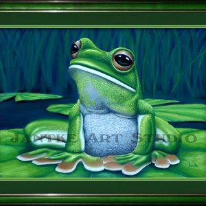 green-tree-frog-main-australian-native-sitting-pastel-painting-peter-jantke-art-studio