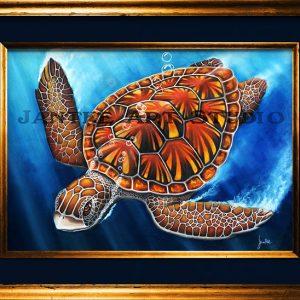 green-turtle-main-australian-native-sea-animal-endangered-pastel-painting-peter-jantke-art-studio