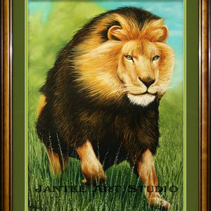 lion-charge-main-king-of-the-jungle-pastel-painting-peter-jantke-art-studio
