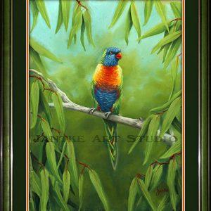rainbow-lorikeets-1-main-single-australian-native-birds-pastel-painting-peter-jantke-art-studio