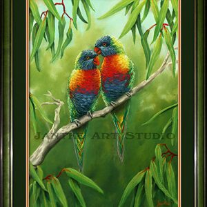 rainbow-lorikeets-2-main-pair-australian-native-birds-pastel-painting-peter-jantke-art-studio