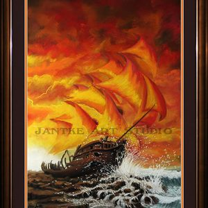 ship-wreck-main-galleon-run-aground-rocks-sunset-pastel-painting-peter-jantke-art-studio