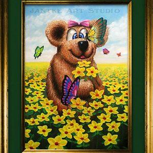 teddy-and-flowers-main-childrens-fantasy-art-teddy-bear-flowers-butterflies-pastel-painting-peter-jantke-art-studio