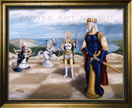 check-main-fantasy-art-chess-king-queen-oil-on-canvas-early-peter-jantke-art-studio