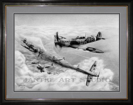 15-seconds-main-spitfires-battle-of-britain-dog-fight-pencil-illustration-peter-jantke-art-studio