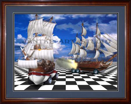 battleships-main-galleons-broadside-chess-board-hotrod-surreal-digital-illustration-peter-jantke-art-studio