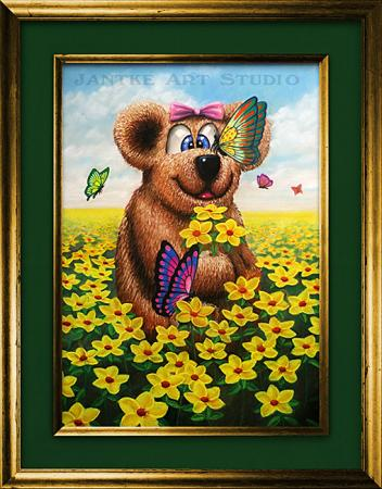 teddy-and-flowers-main-childrens-fantasy-art-teddy-bear-flowers-butterflies-pastel-painting-peter-jantke-art-studio