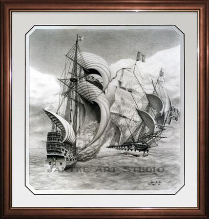 crossing-the-t-main-horatio-nelson-classic-naval-warfare-tactic-pencil-illustration-peter-jantke-art-studio