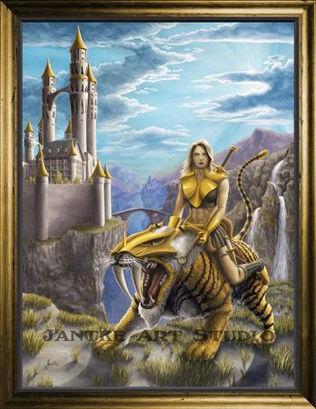 dawn-patrol-main-fantasy-art-tiger-female-amazonian-military-female-warrior-castle-oil-on-canvas-peter-jantke-art-studio