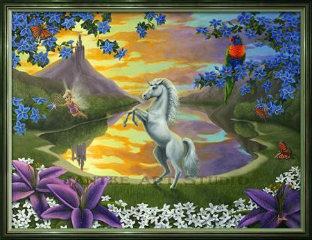 jassys-unicorn-main-childrens-fantasy-art-fairy-flowers-castle-oil-on-canvas-peter-jantke-art-studio