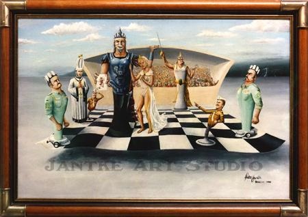 king-of-dreams-main-fantasy-art-chess-first-painting-oil-on-canvas-early-peter-jantke-art-studio