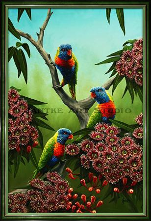 rainbows-and-reds-main-rainbow-lorikeet-australian-native-birds-oil-on-canvas-peter-jantke-art-studio