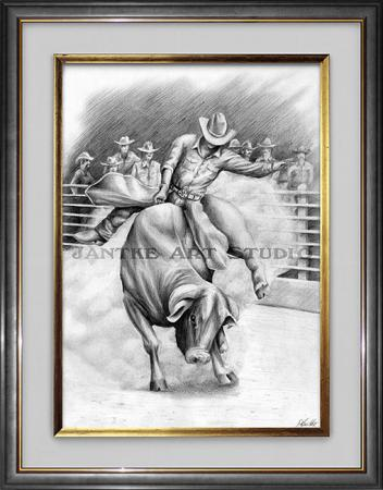 bull-rider-main-rodeo-competition-bucking-bull-pencil-illustration-peter-jantke-art-studio