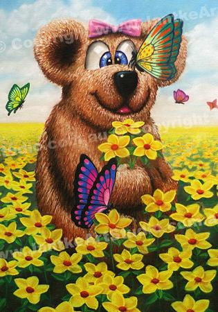 PRC019-main-jas-kids-art-bear-n-butterflies-teddy-in-flowers-jantke-art-print