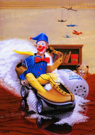 PRC008-main-jas-kids-art-alex's-clown-riding-rollerskate-jantke-art-print