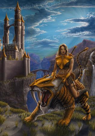 PRC007-main-jas-fantasy-art-dawn-patrol-castle-sabretooth-tiger-female-woman-warrior-jantke-art-print