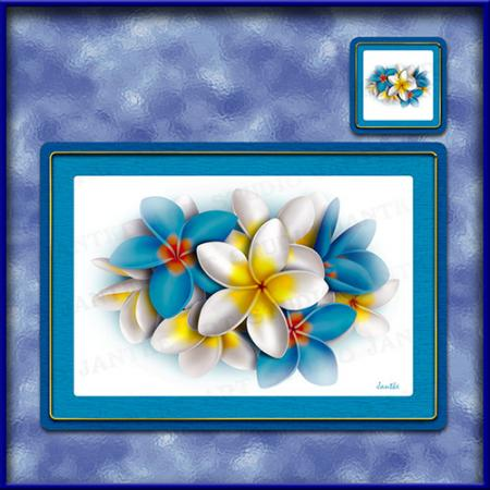 TM002BL-A3-jas-main-frangipani-bouquet-plumeria-flower-table-mat-blue-jantke-art-studio