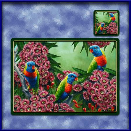 TM004-A3-jas-main-rainbows-and-reds-australian-native-parakeet-table-mat-jantke-art-studio