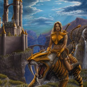 PRC007-main-jas-fantasy-art-dawn-patrol-castle-sabretooth-tiger-female-woman-warrior-jantke-art-print