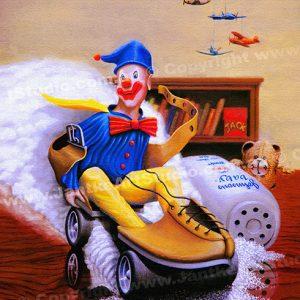PRC008-main-jas-kids-art-alex's-clown-riding-rollerskate-jantke-art-print
