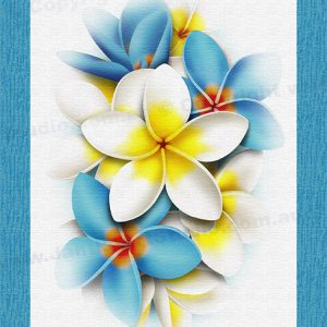 PRC024BL-main-jas-flower-frangipani-plumeria-bouquet-blue-jantke-art-print