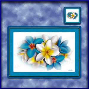 TM002BL-A3-jas-main-frangipani-bouquet-plumeria-flower-table-mat-blue-jantke-art-studio