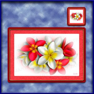 TM002RD-A3-jas-main-frangipani-bouquet-plumeria-flower-table-mat-red-jantke-art-studio