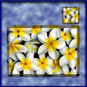 TM003WT-A3-jas-main-frangipani-madness-plumeria-flower-table-mat-white-jantke-art-studio