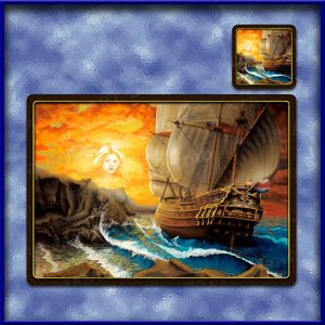 TM009-A3-jas-main-wing-song-mermaid-fantasy-art-galleon-table-mat-jantke-art-studio